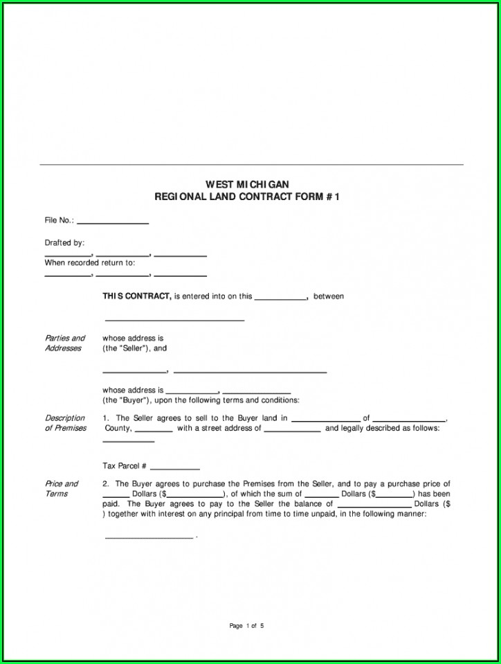 Land Contract Form Wisconsin Template