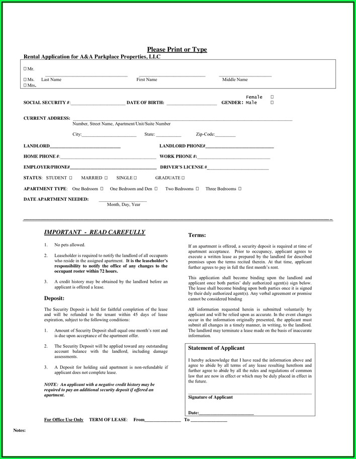Lease Application Form Word