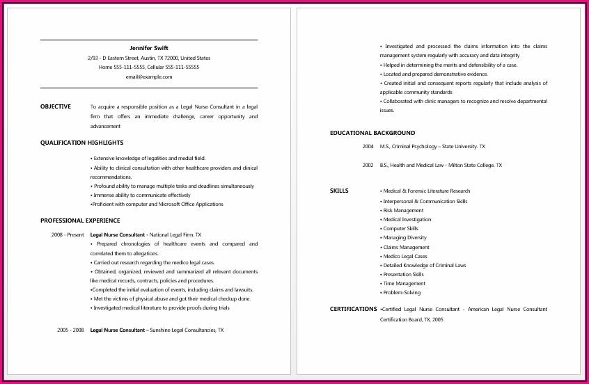 Legal Nurse Consultant Resume Objective