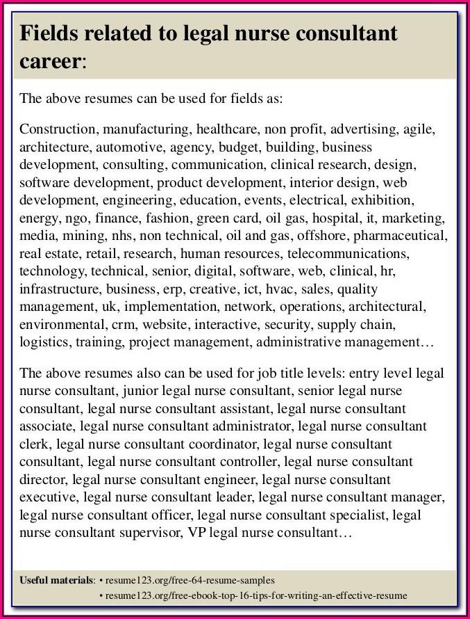 Legal Nurse Consultant Resume