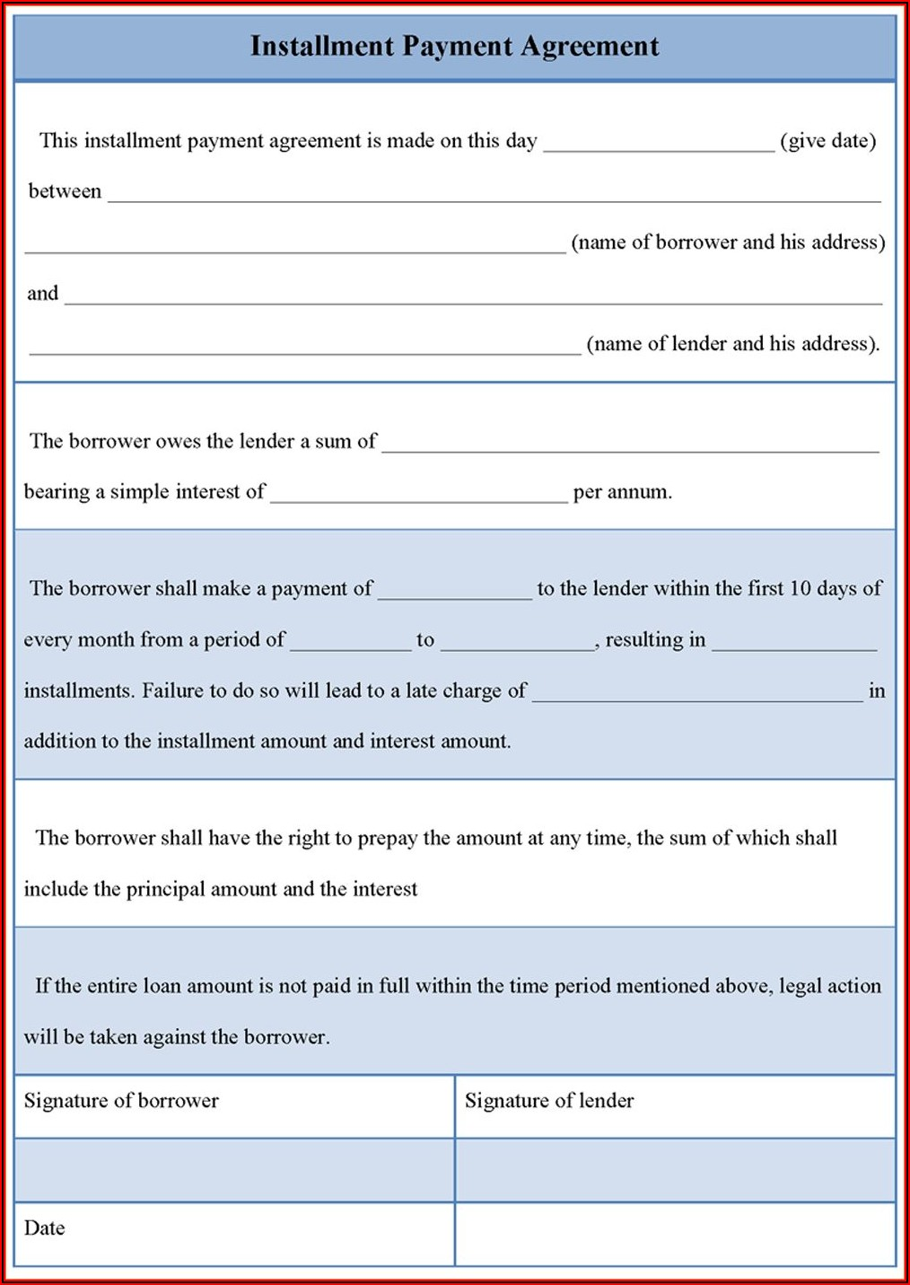 Loan Repayment Contract Form