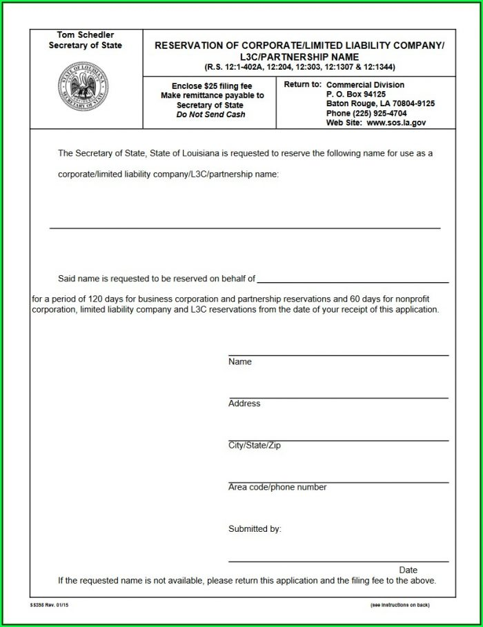 Louisiana Secretary Of State Corporations Forms