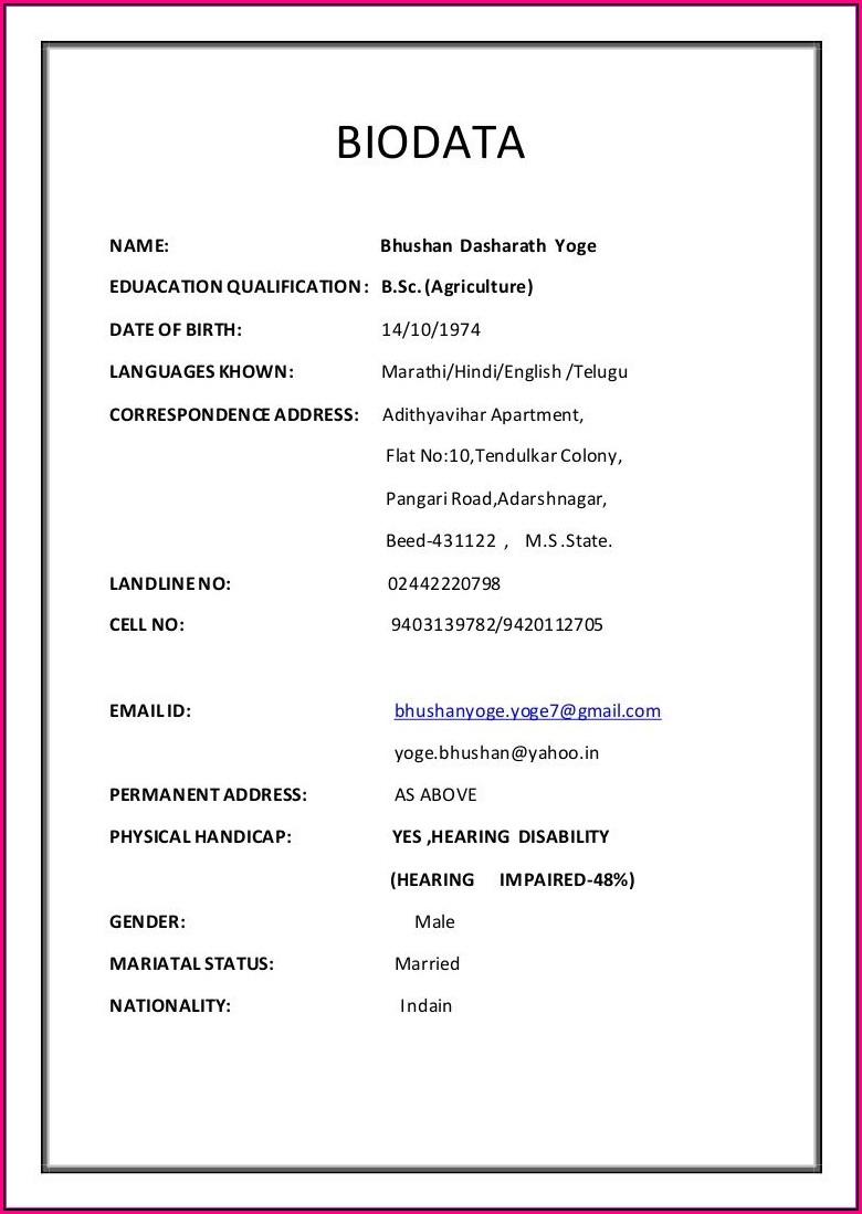 Marriage Resume Format For Boy In Tamil