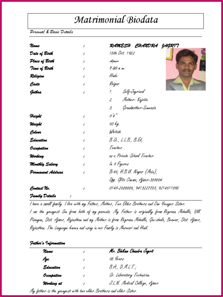 Marriage Resume Format For Boy Word Download
