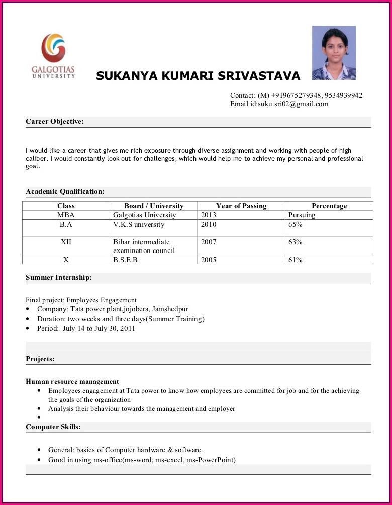 Mba Resume Format Pdf Download Free