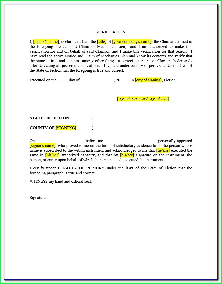 Mechanics Lien Florida Form