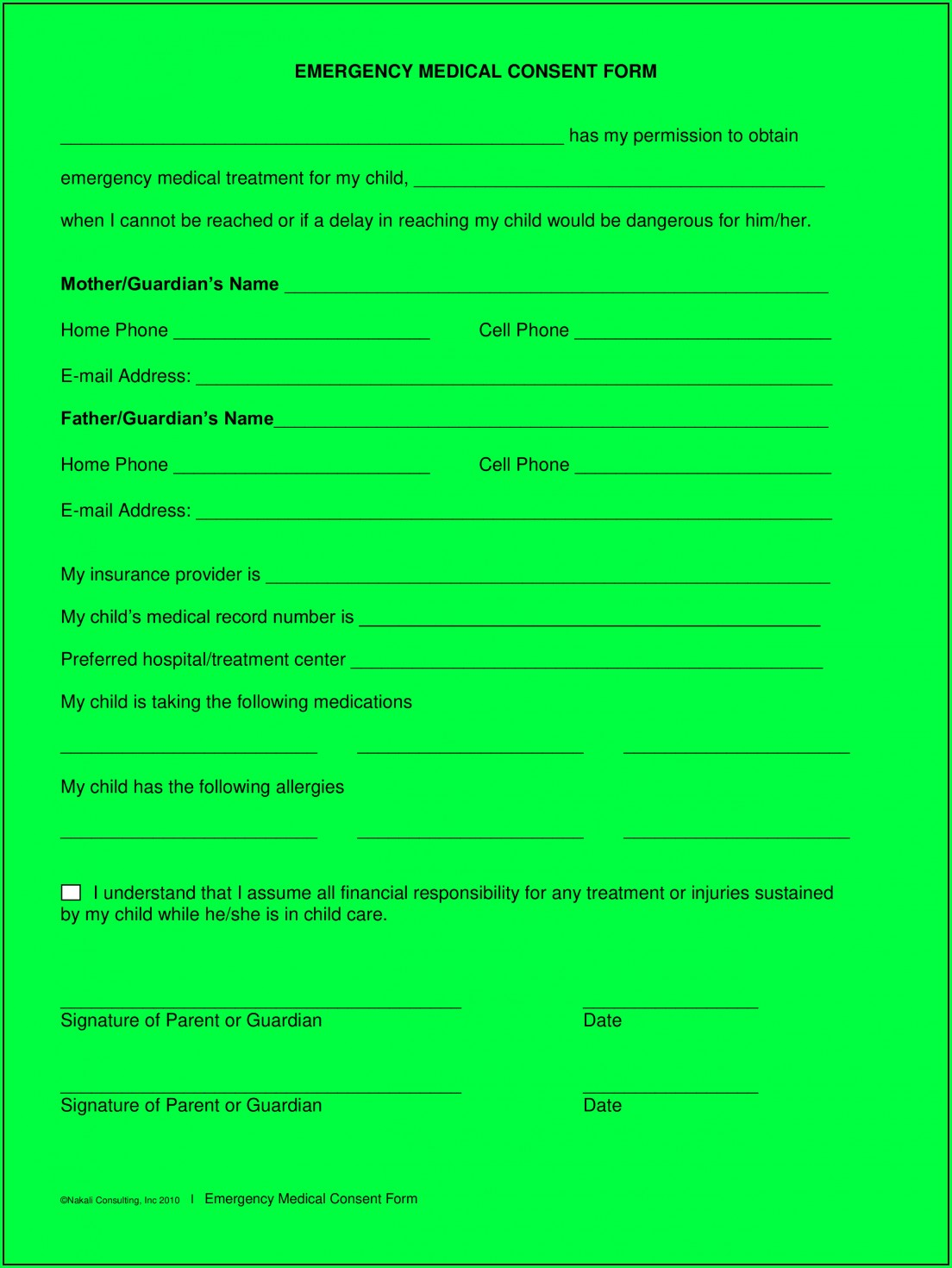 Medical Consent Form For Grandparents Template