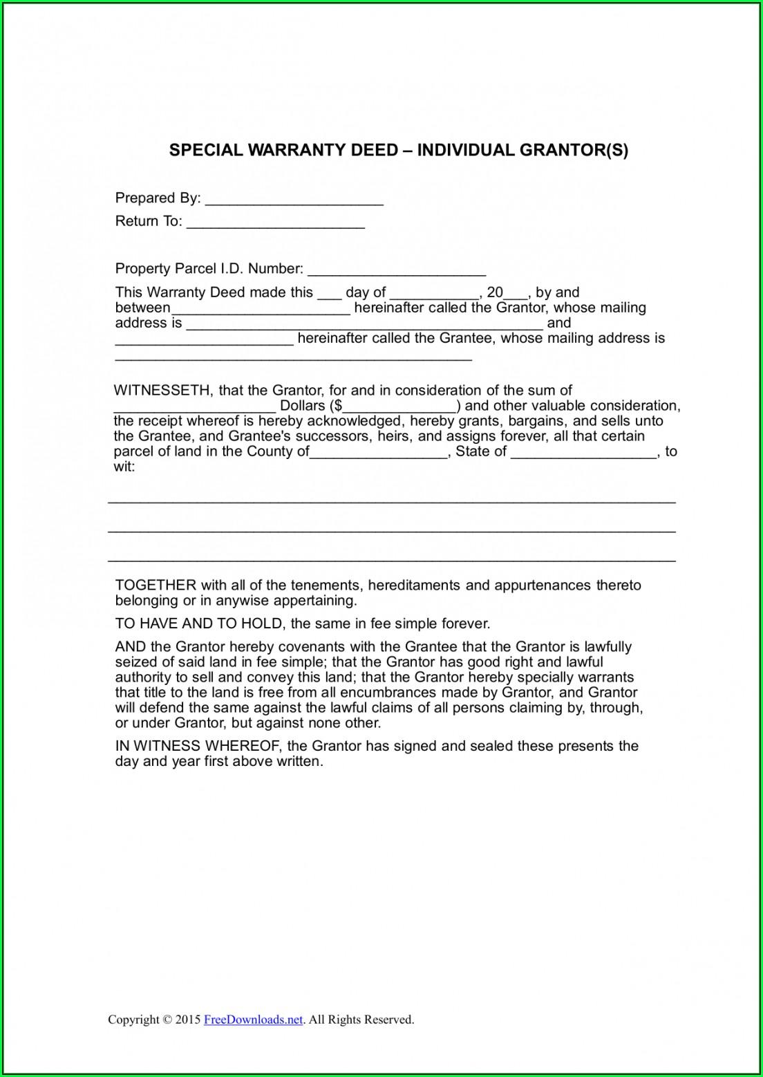 Michigan Special Warranty Deed Form