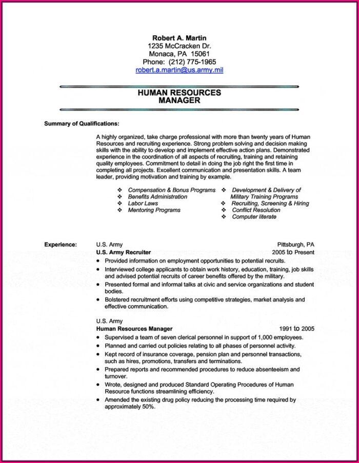 Military Job Descriptions For Resume