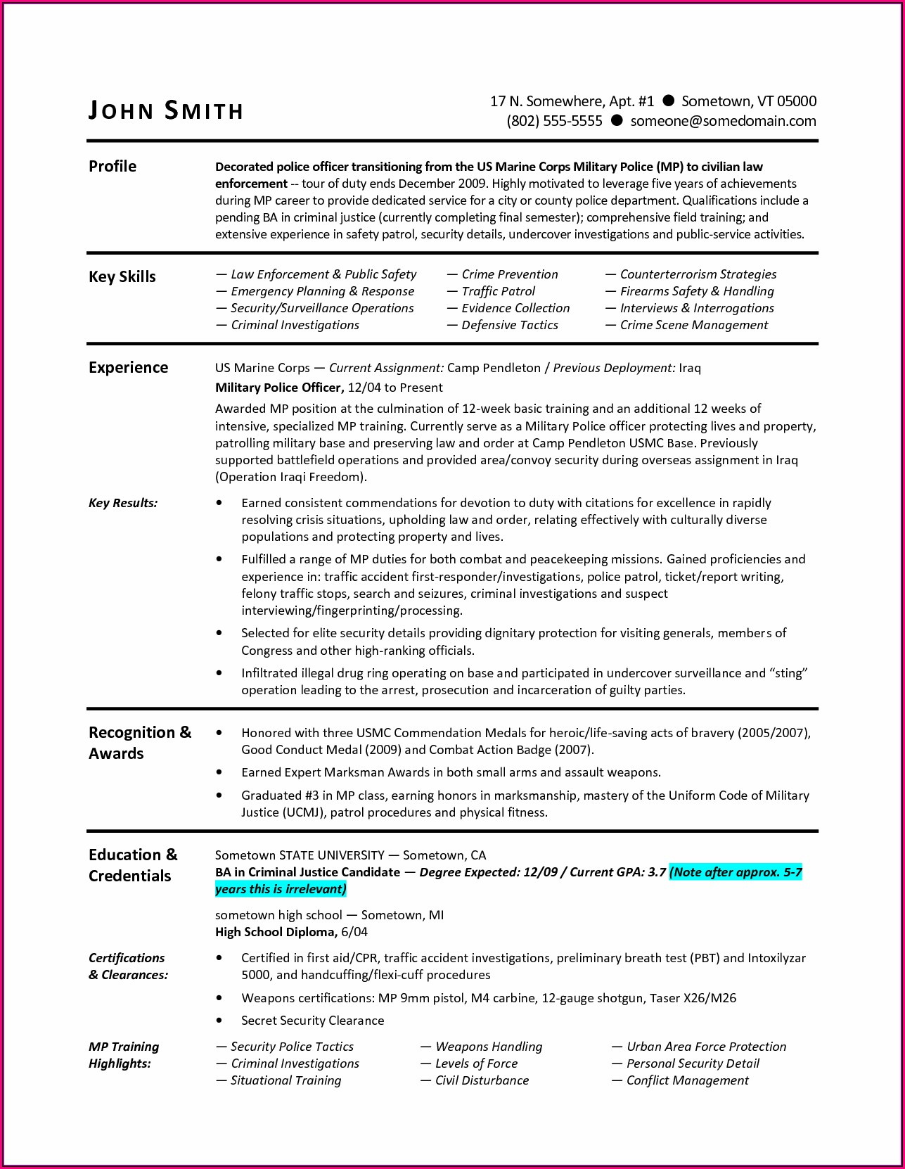 Military Resume Transition To Civilian Resume