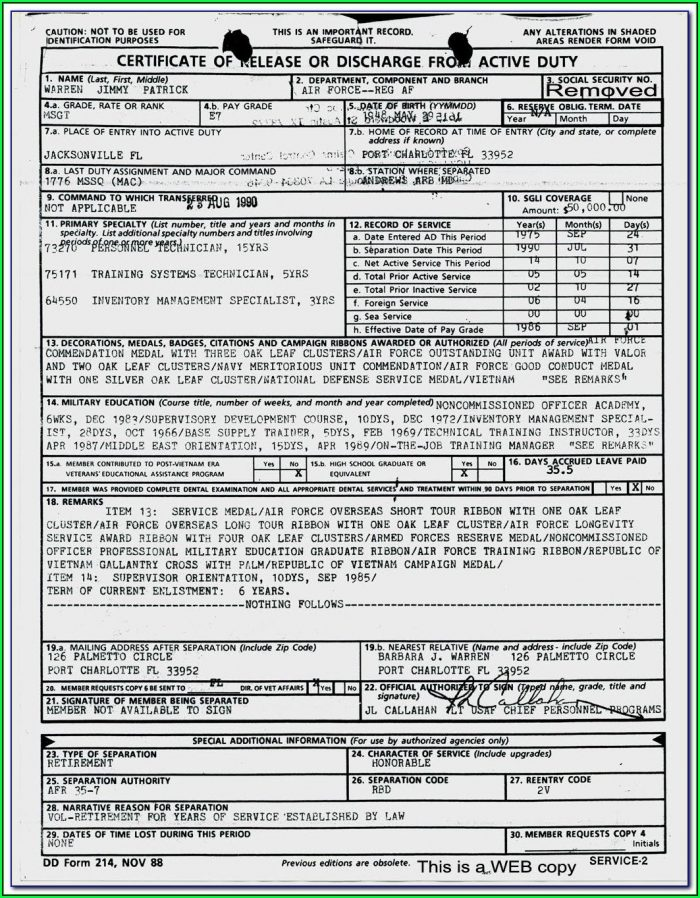 Military Separation Form Dd 214