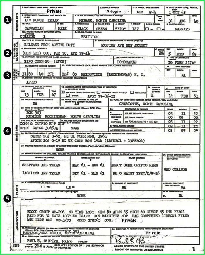 Military Service Form Dd 214