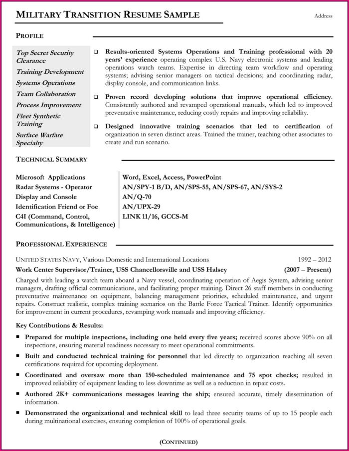 Military Spouse Resume Template