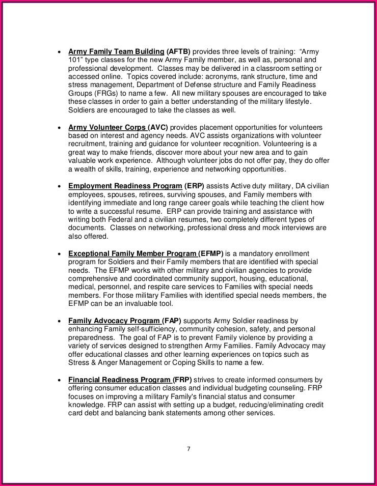 Military Spouse Volunteer Resume