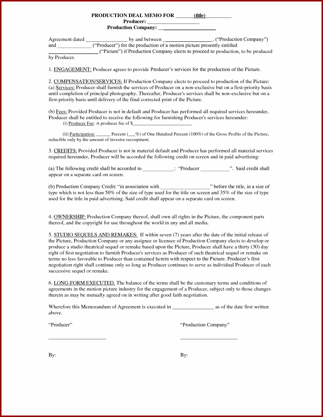 Music Production Deal Contract Template