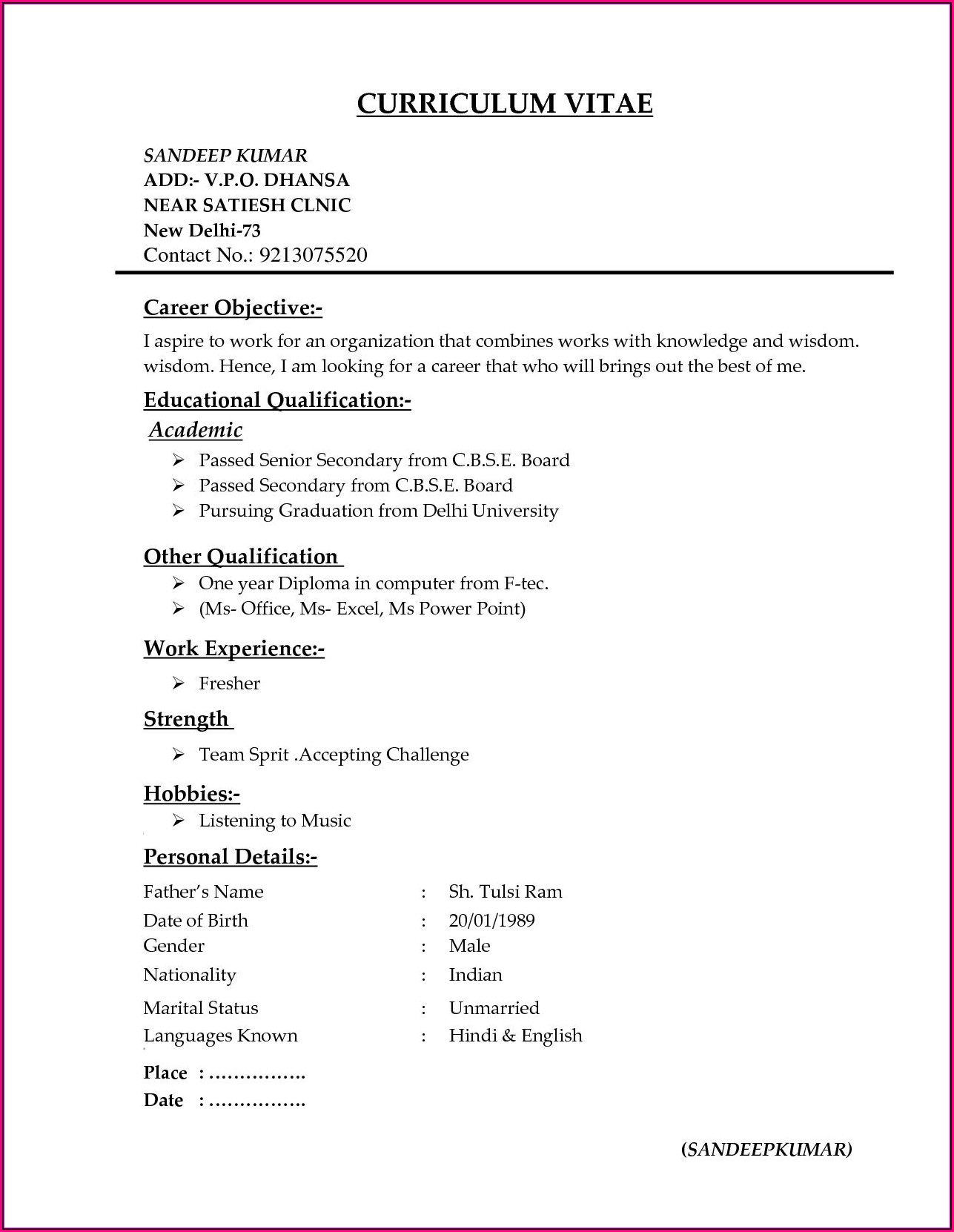 New Resume Format For Freshers