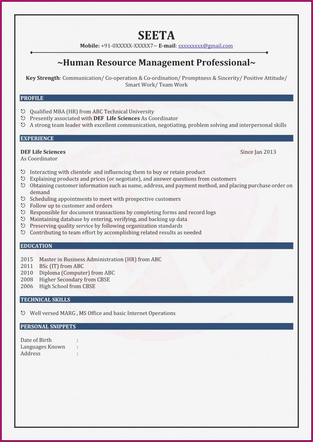 New Resume Format For Mba Freshers