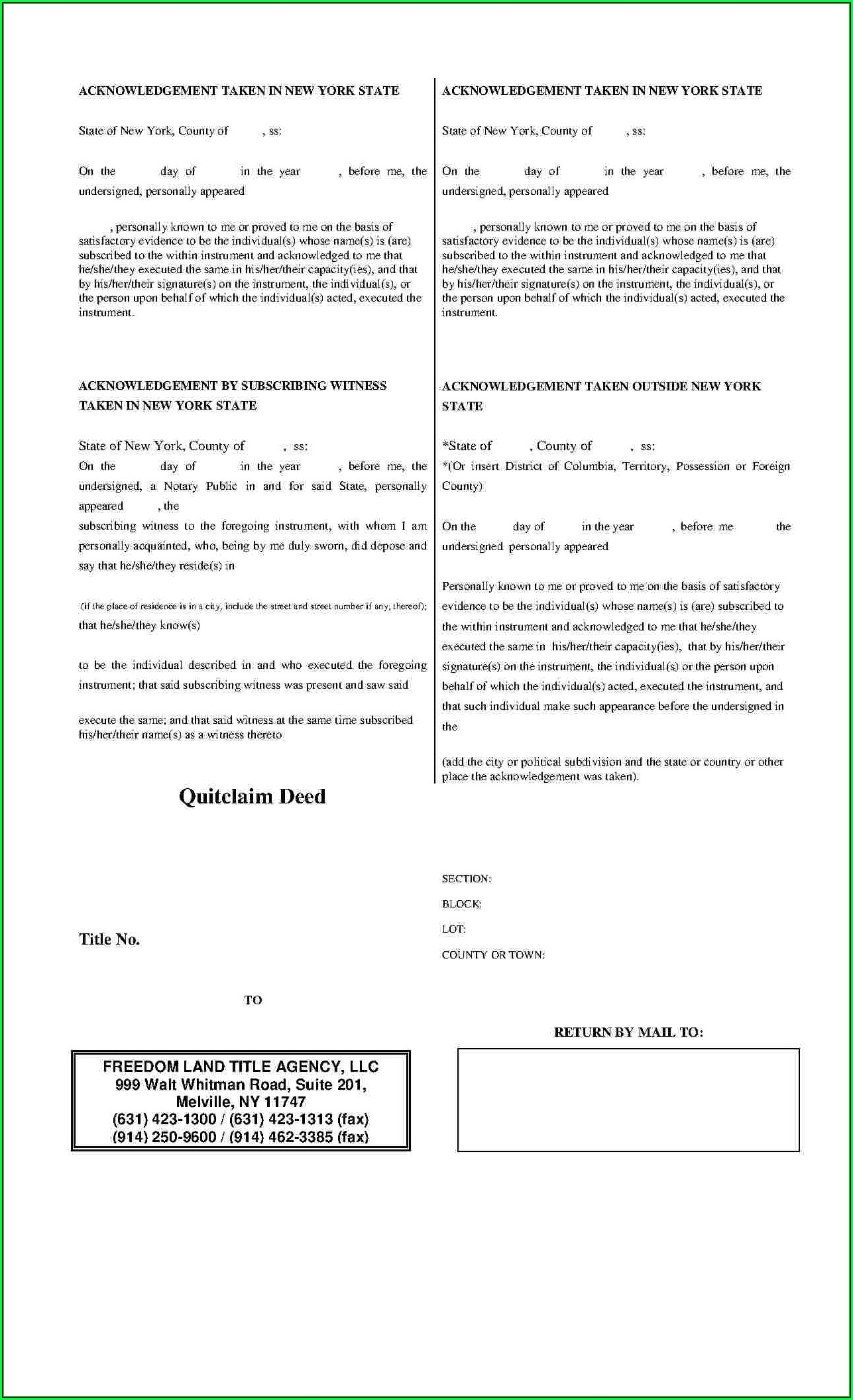 New York City Quit Claim Deed Form