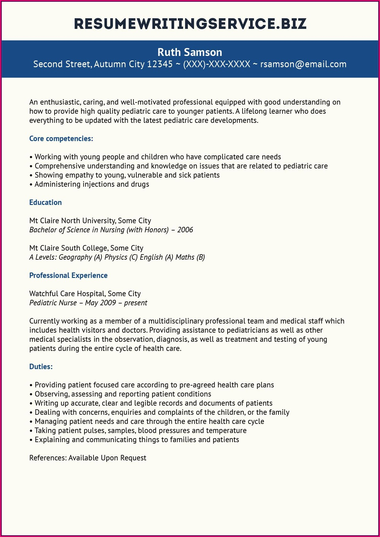 Nursing Resume Services