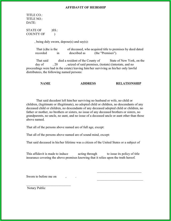 Ny Sworn Affidavit Form