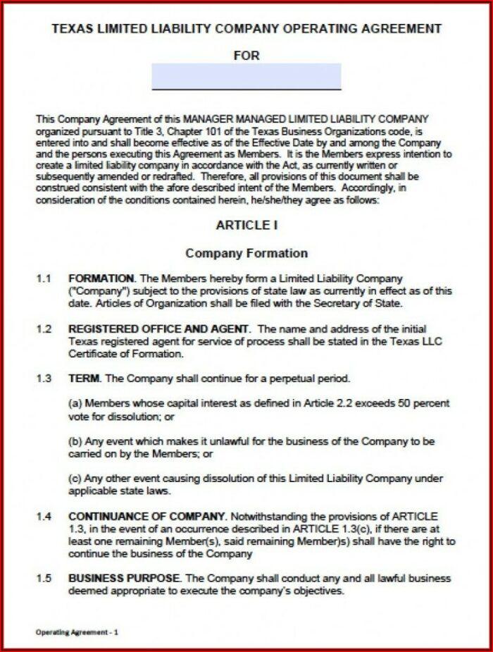 Operating Agreement Llc Template