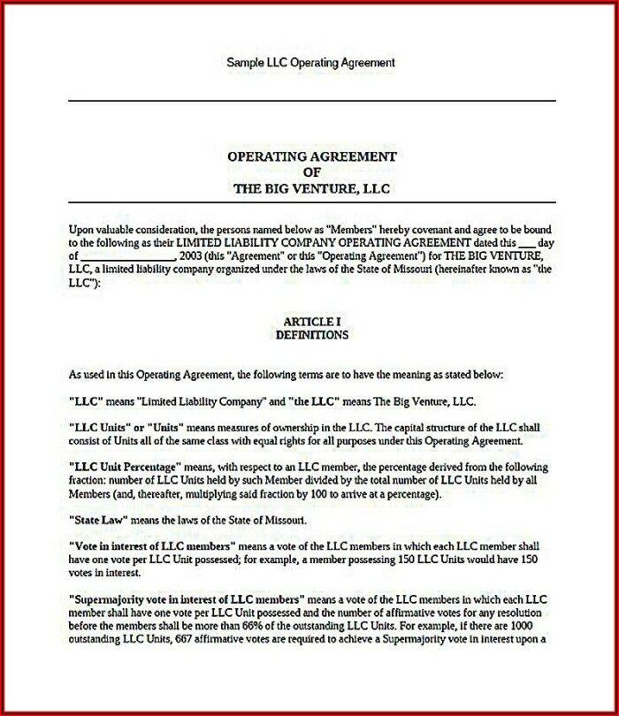 Operating Agreement Llc Template California