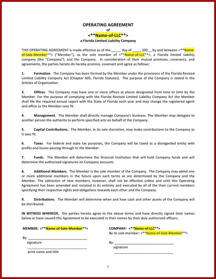 Operating Agreement Llc Template Pdf
