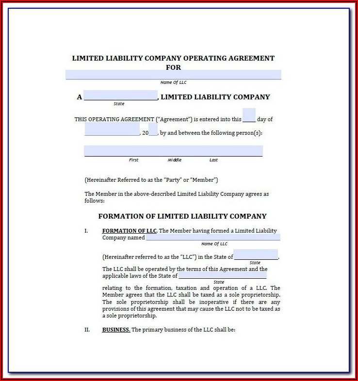 Operating Agreement Llc Template Wisconsin