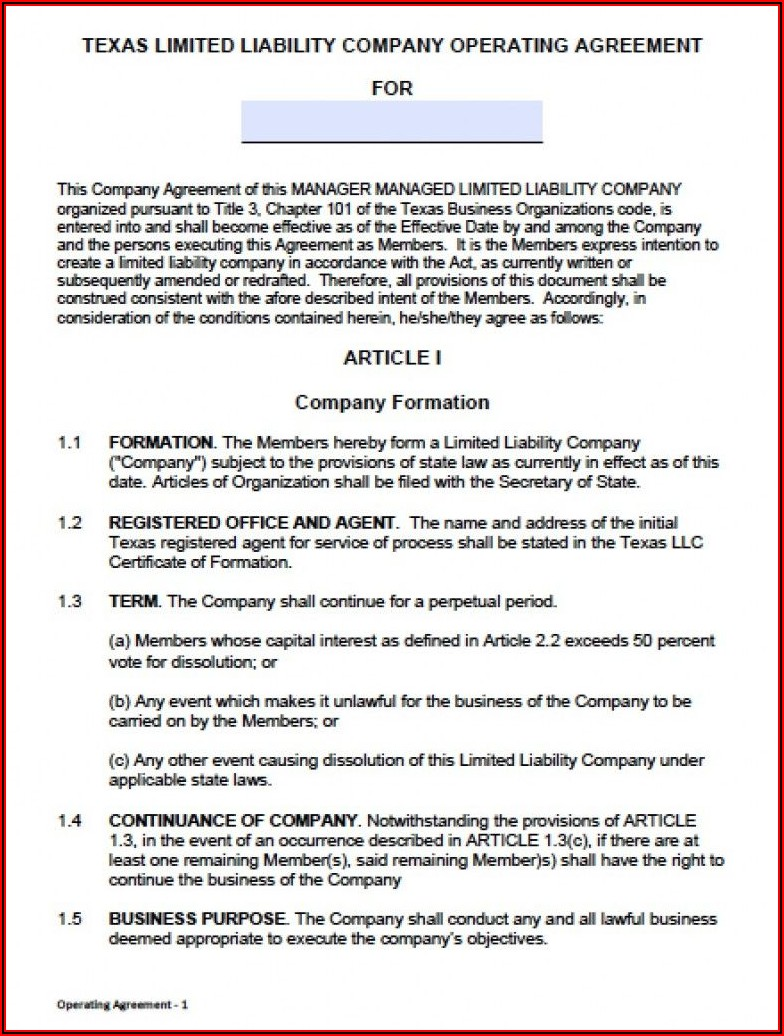 Operating Agreement Llc Template