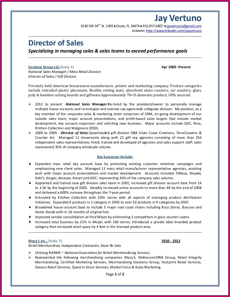 Outside Sales Representative Resume Template