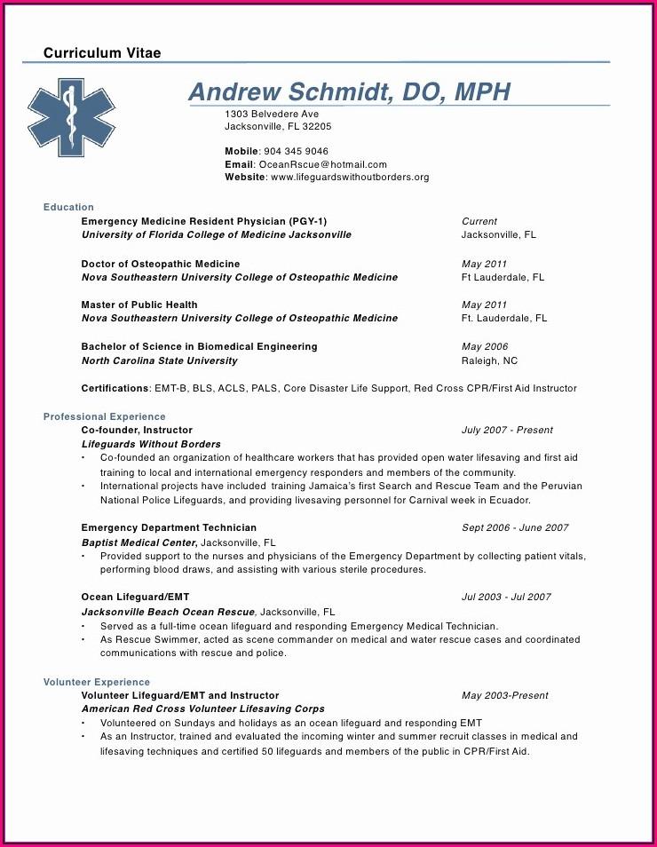 Physician Curriculum Vitae Template Word