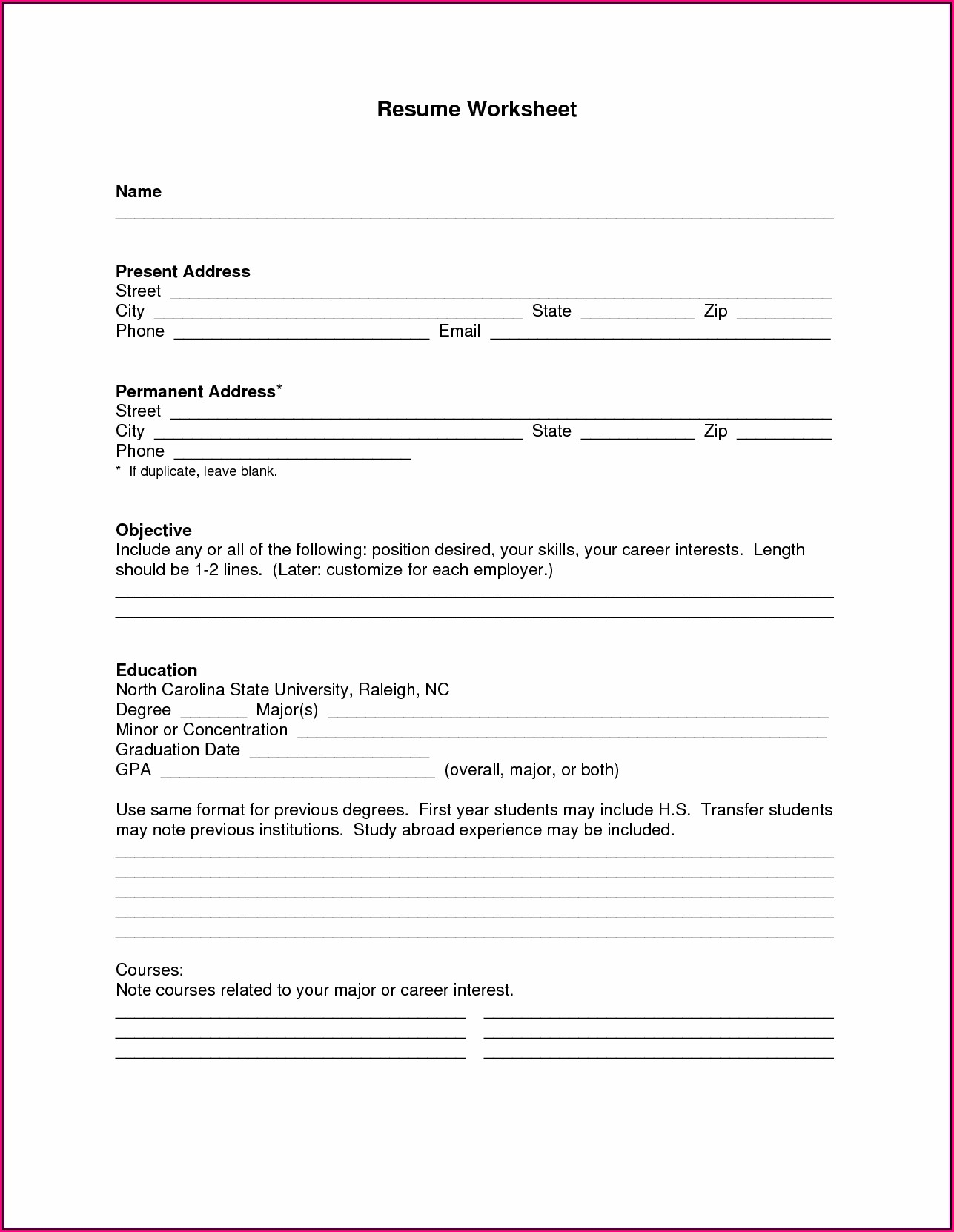 Printable Blank Resume Templates For Free