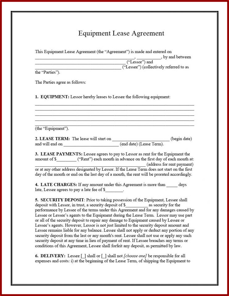 Printable Free Equipment Rental Agreement Form Template