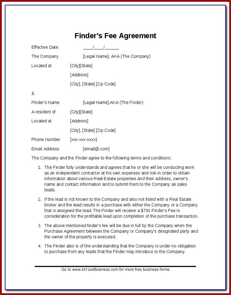 Real Estate Finders Fee Agreement Template