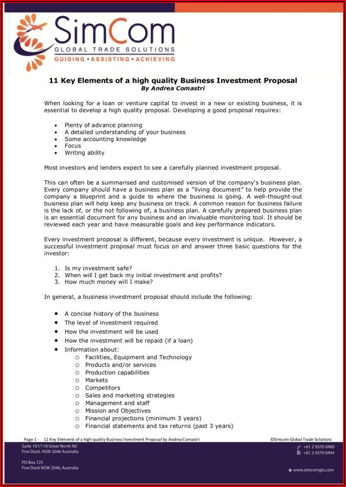 Real Estate Investment Proposal Template Pdf