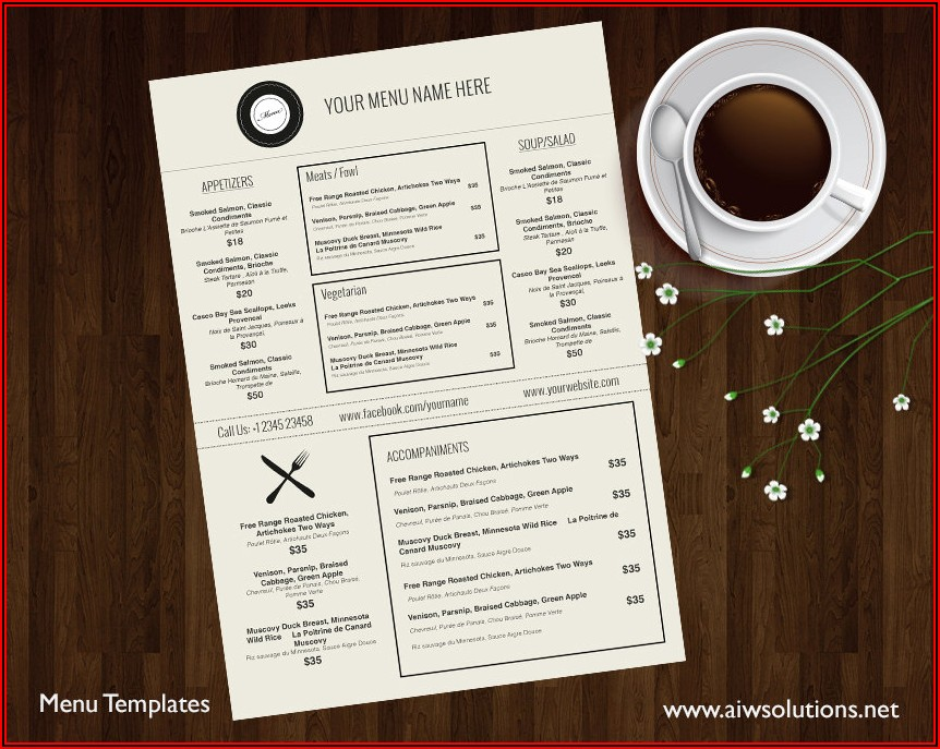 Restaurant Menu Template Free Download Word