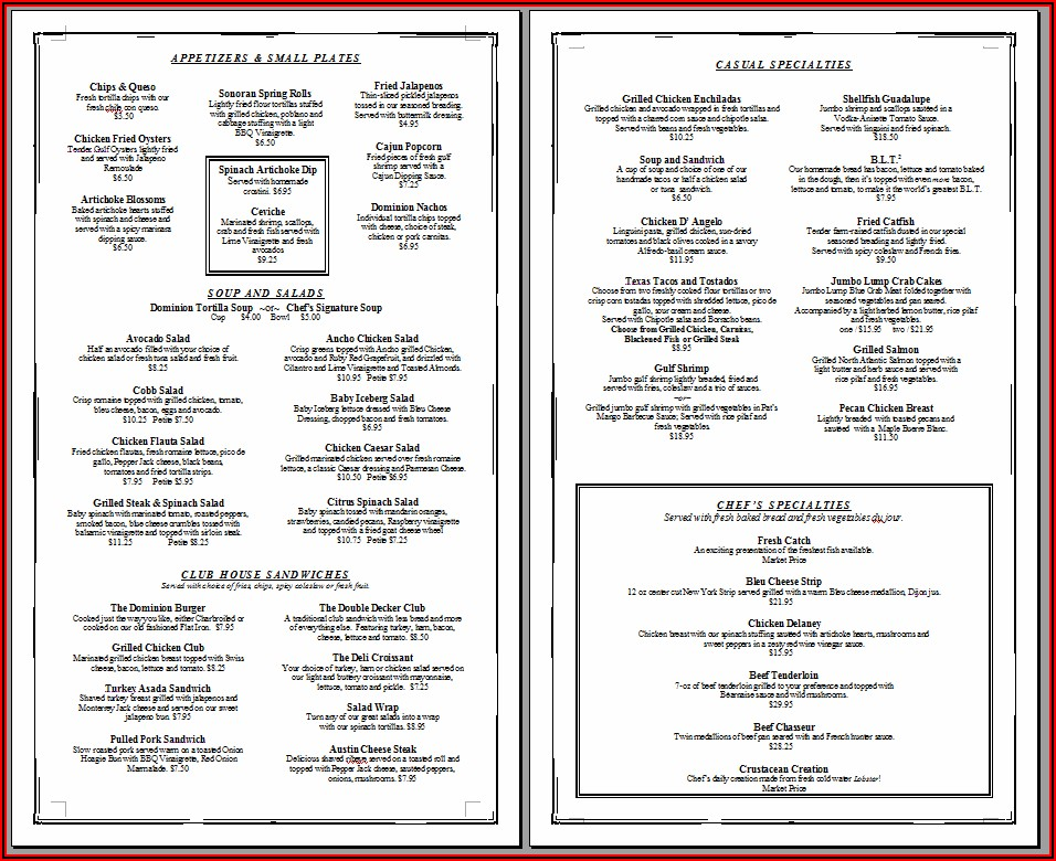 Restaurant Menu Template Microsoft Word Free Download