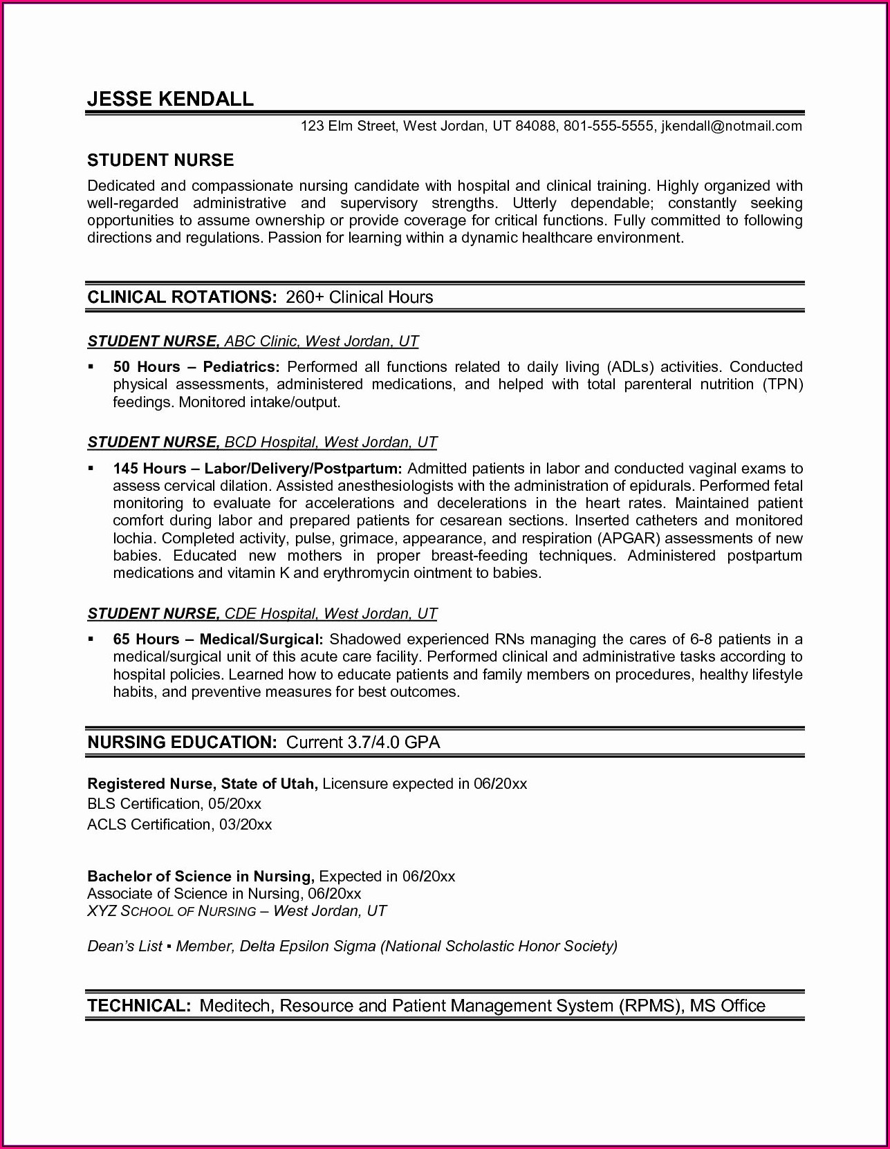 Resume Example For Registered Nurse