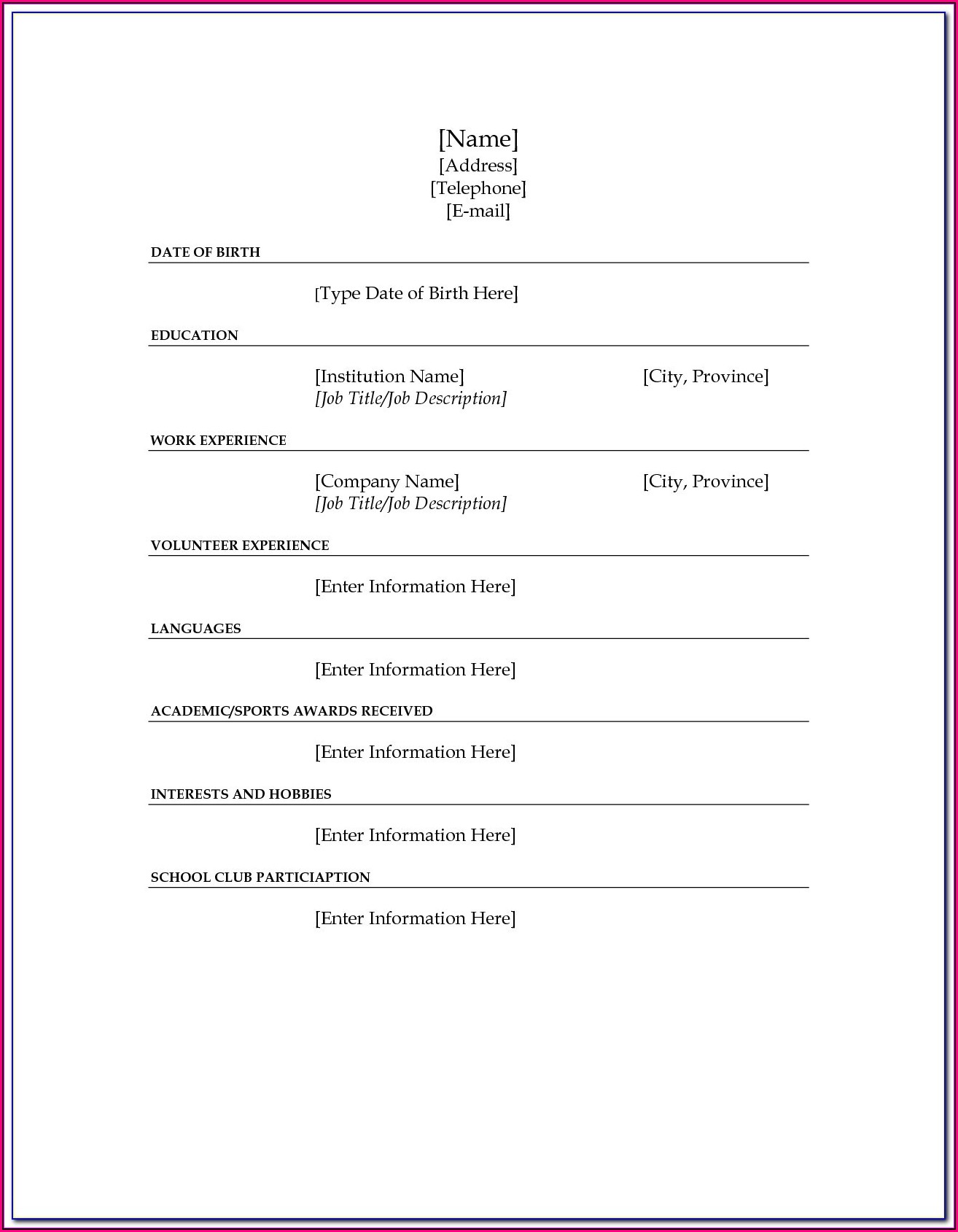 Resume Fill In The Blank Template