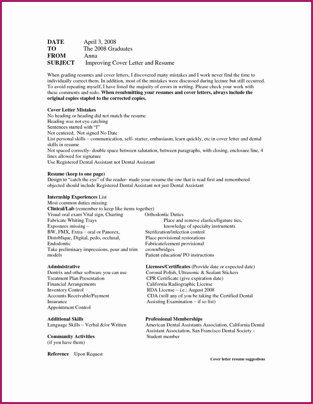 Resume For Dental Assistant With Experience