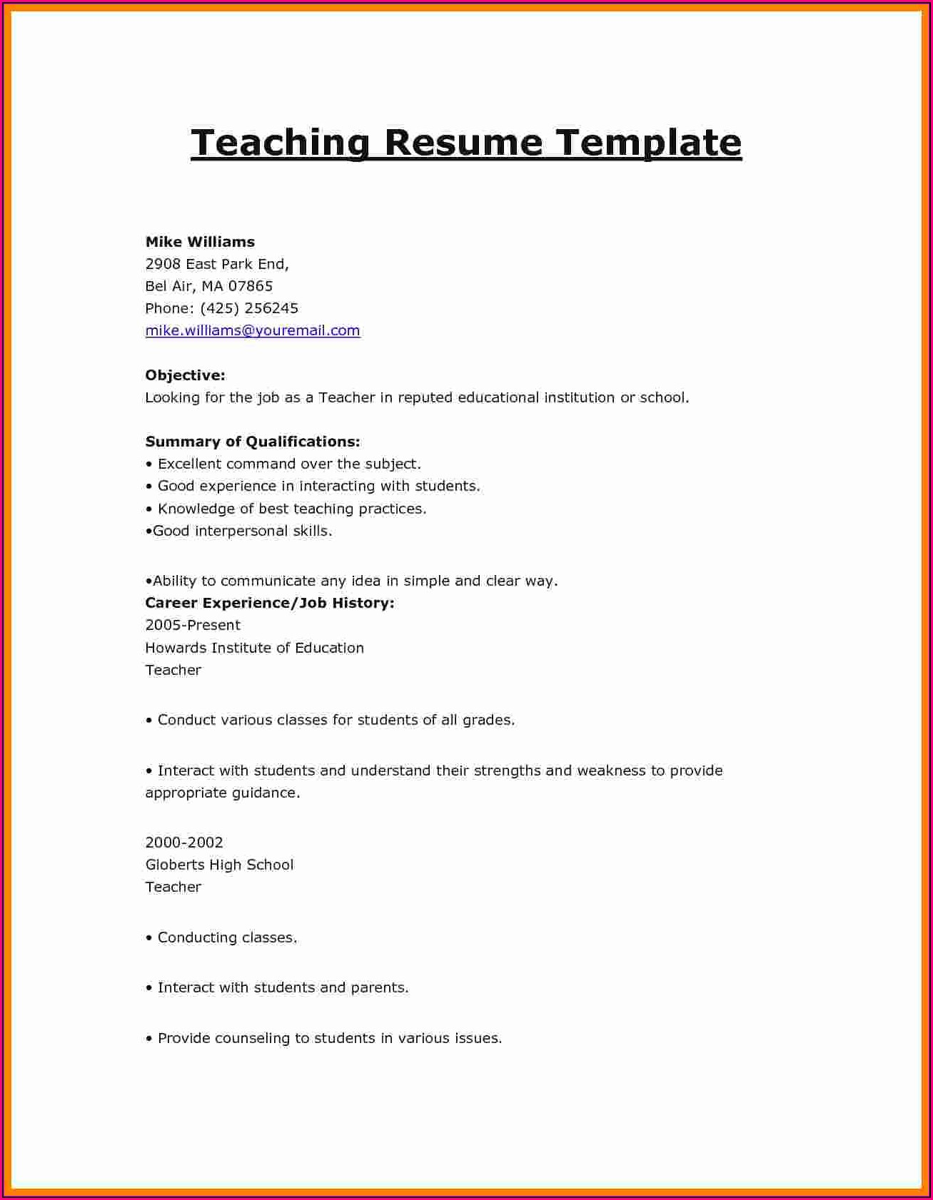 Resume Format Examples For Teaching Job