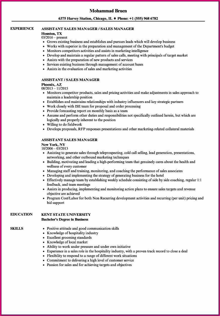 Resume Format For Assistant Manager Sales