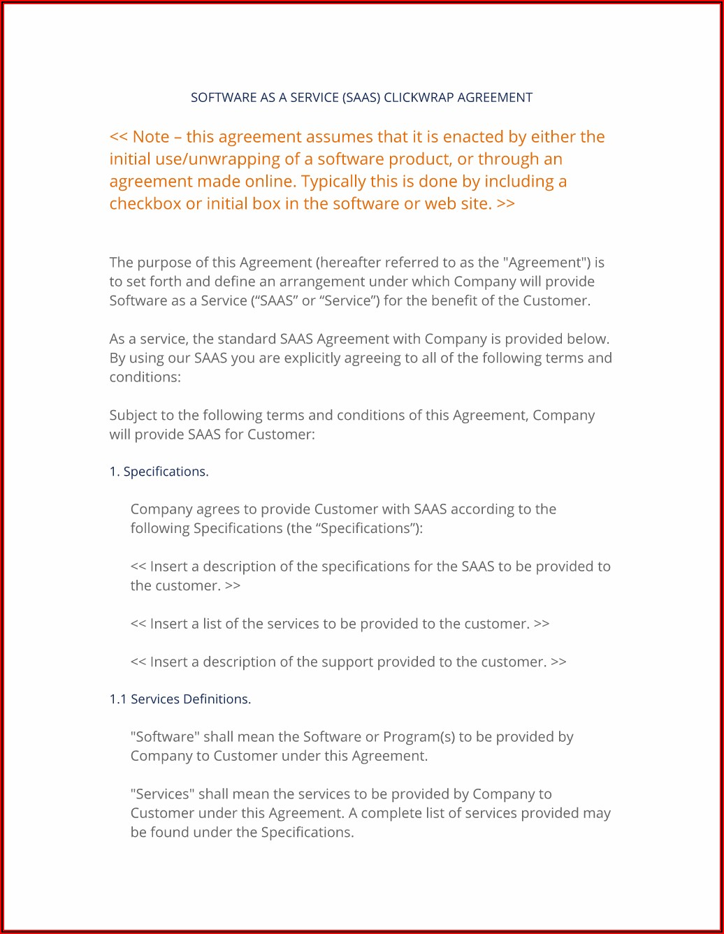 Saas Agreement Template Pdf