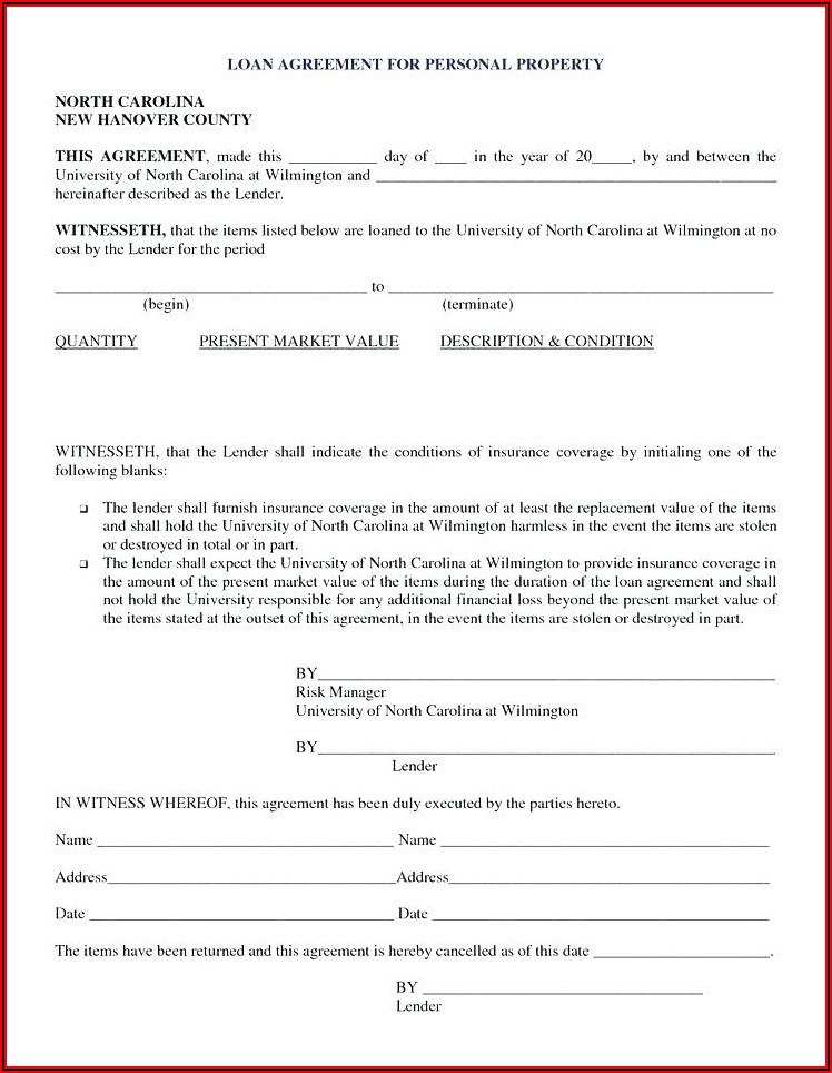Simple Loan Document Template Free