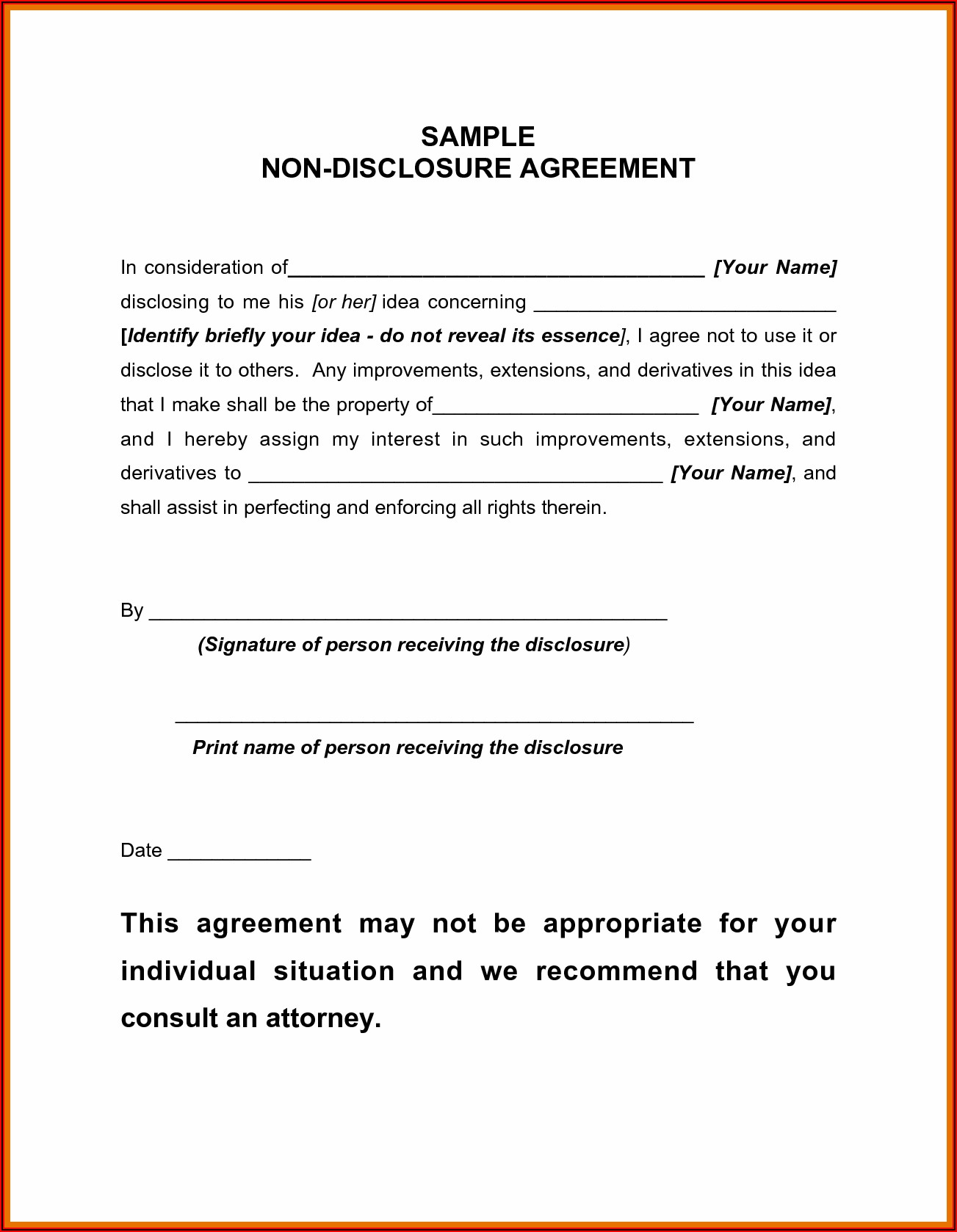 Simple Nda Agreement Template Word