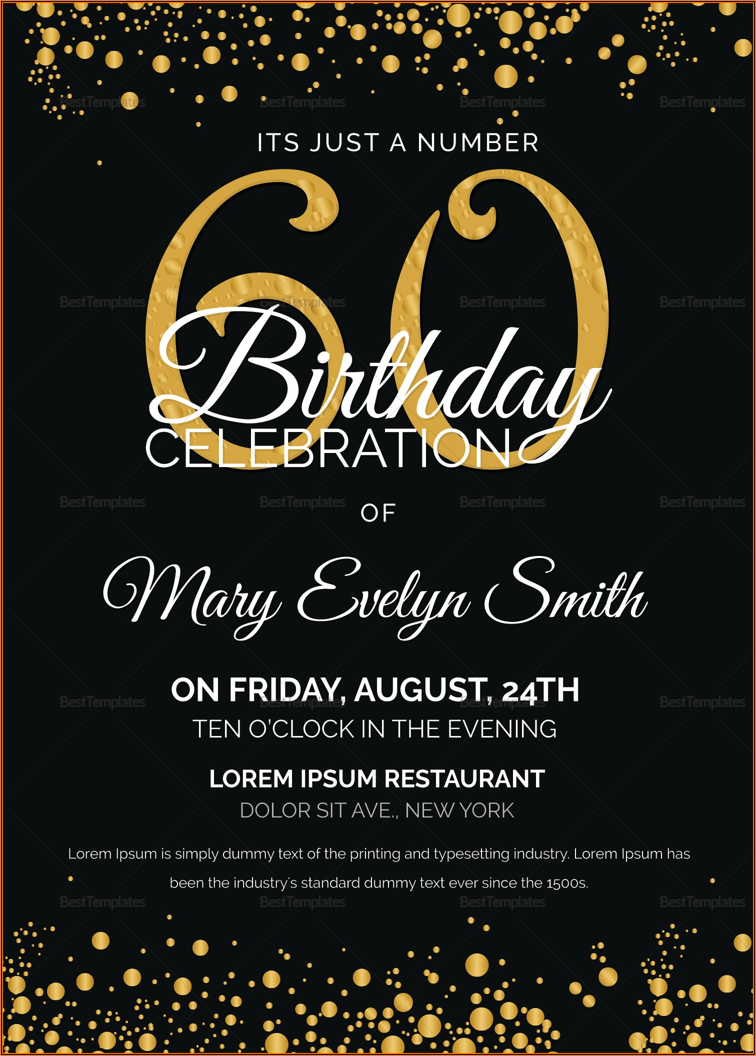 Editable 60th Birthday Invitations Templates Free