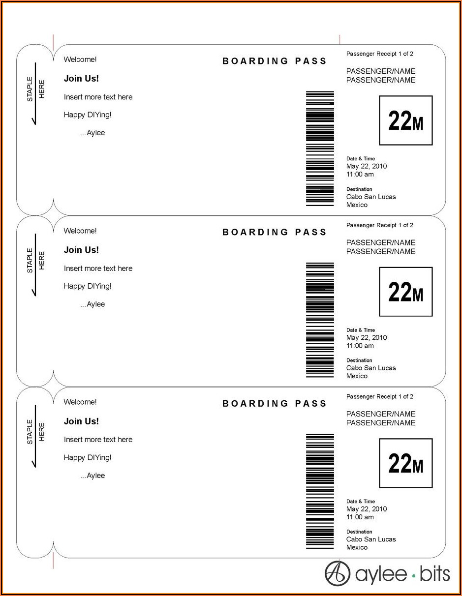 Editable Boarding Pass Invitation Template Free