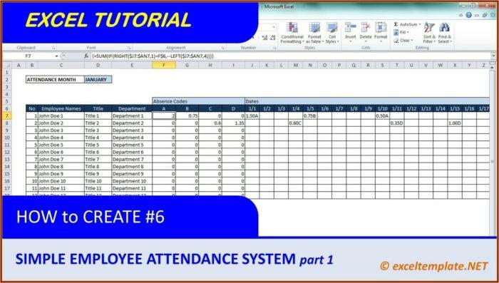 Employee Attendance Tracker Template Excel