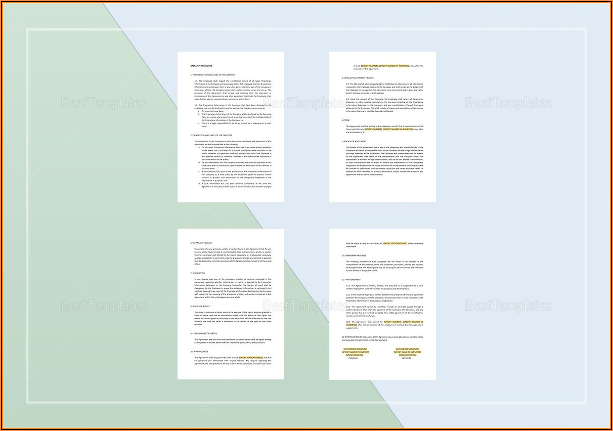 Employee Confidentiality Agreement Template Word