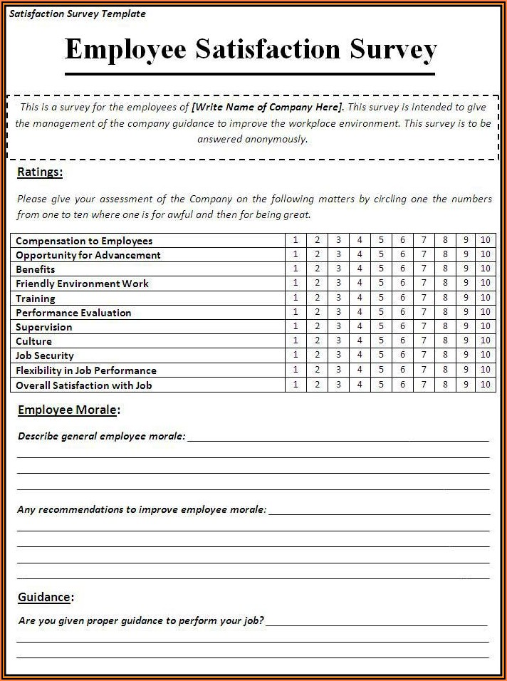 Employee Satisfaction Survey Template Doc